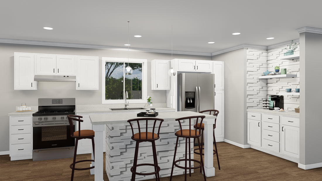 The GPII-2456-3B BRADBURY Kitchen. This Manufactured Mobile Home features 3 bedrooms and 2 baths.