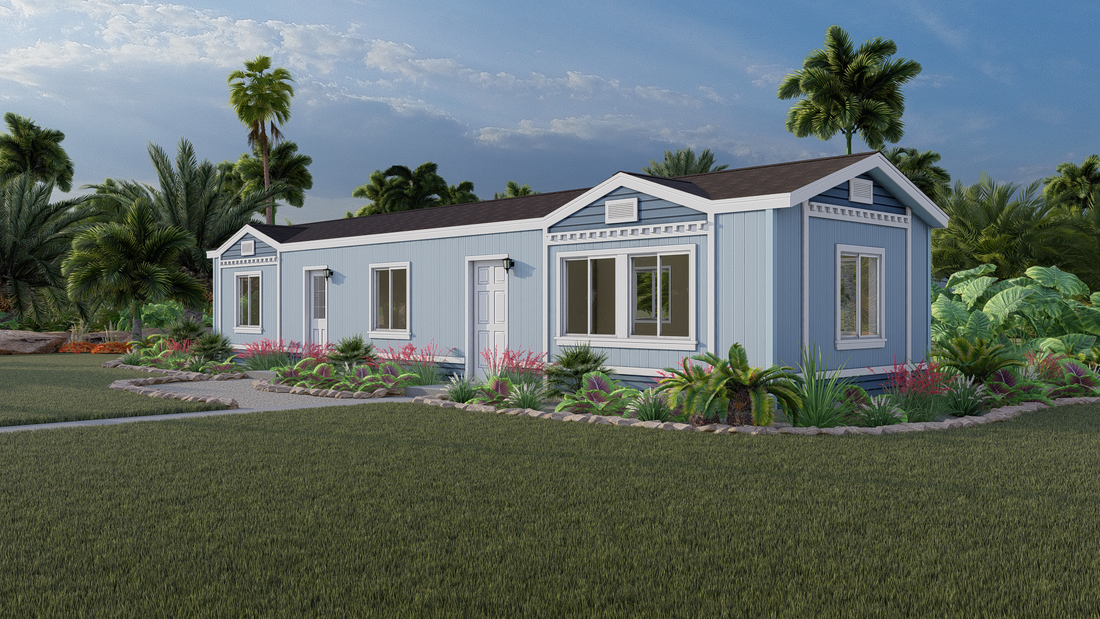 The GPII 1448-2C DEL REY Exterior. This Manufactured Mobile Home features 2 bedrooms and 2 baths.