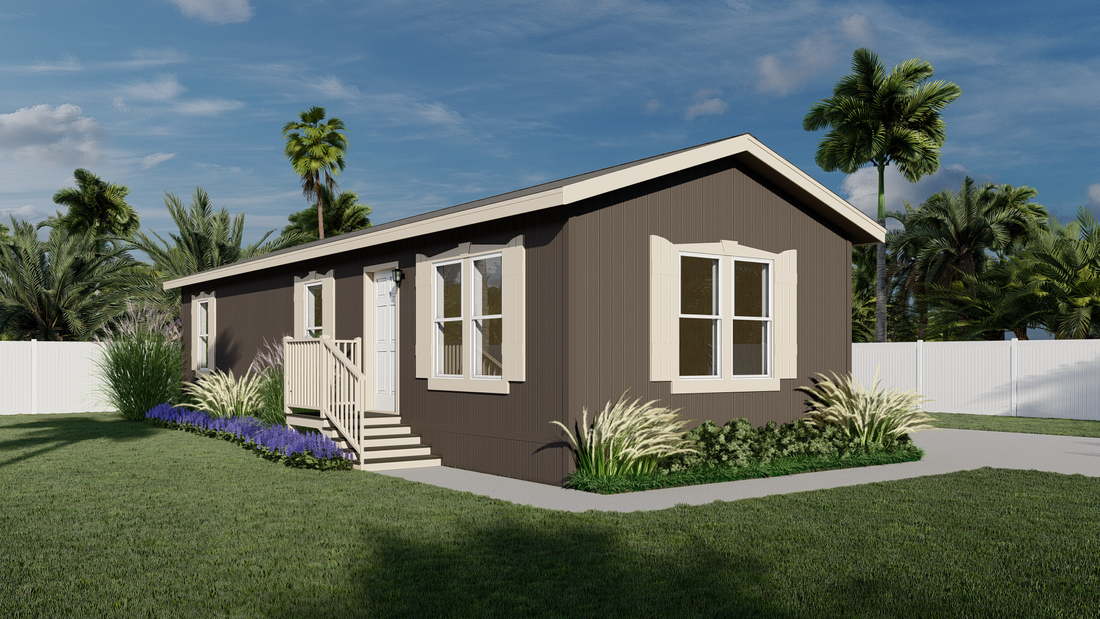 The GPII 1460-3B ENCANTO Exterior. This Manufactured Mobile Home features 3 bedrooms and 2 baths.