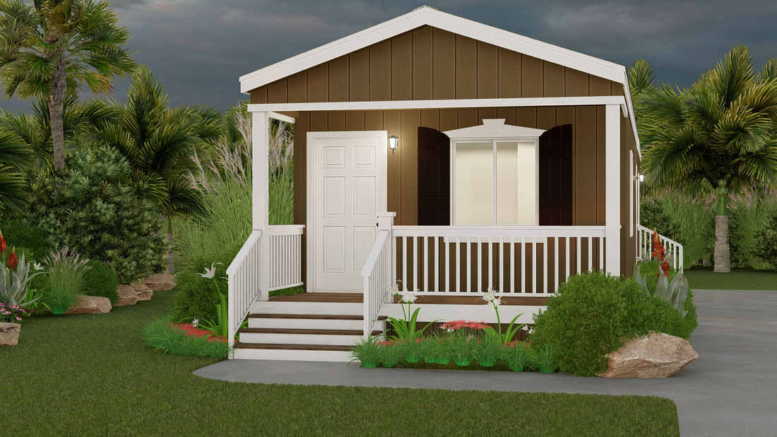The GPII 1440-1B CARLSBAD Exterior. This Manufactured Mobile Home features 1 bedroom and 1 bath.