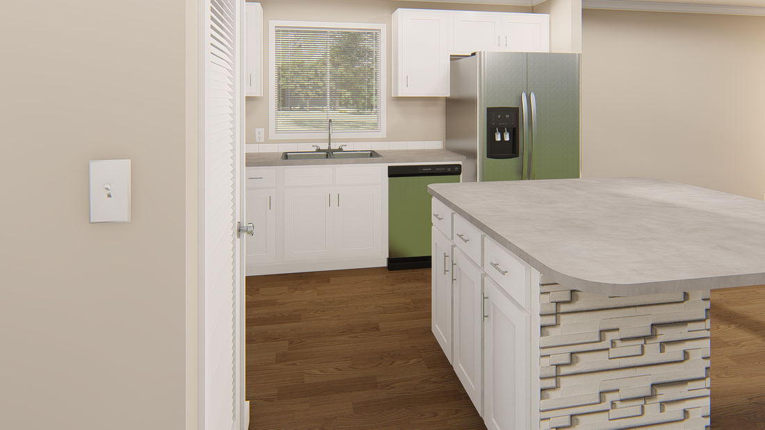 The GPII 1456-2C NEWPORT Kitchen. This Manufactured Mobile Home features 2 bedrooms and 2 baths.