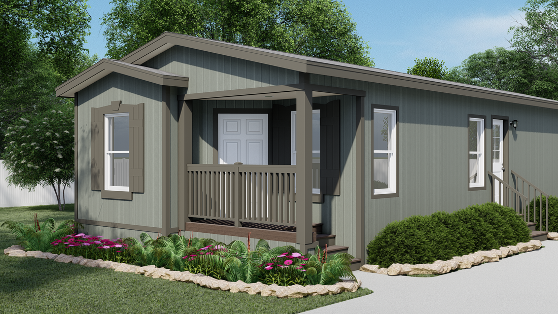 The GPII-2056-3B  WESTWOOD Exterior. This Manufactured Mobile Home features 3 bedrooms and 2 baths.
