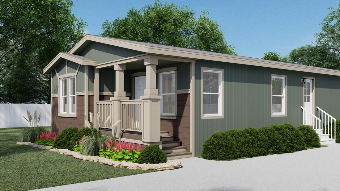 The GPII-2748-2A OAK RANCH Exterior. This Manufactured Mobile Home features 2 bedrooms and 2 baths.