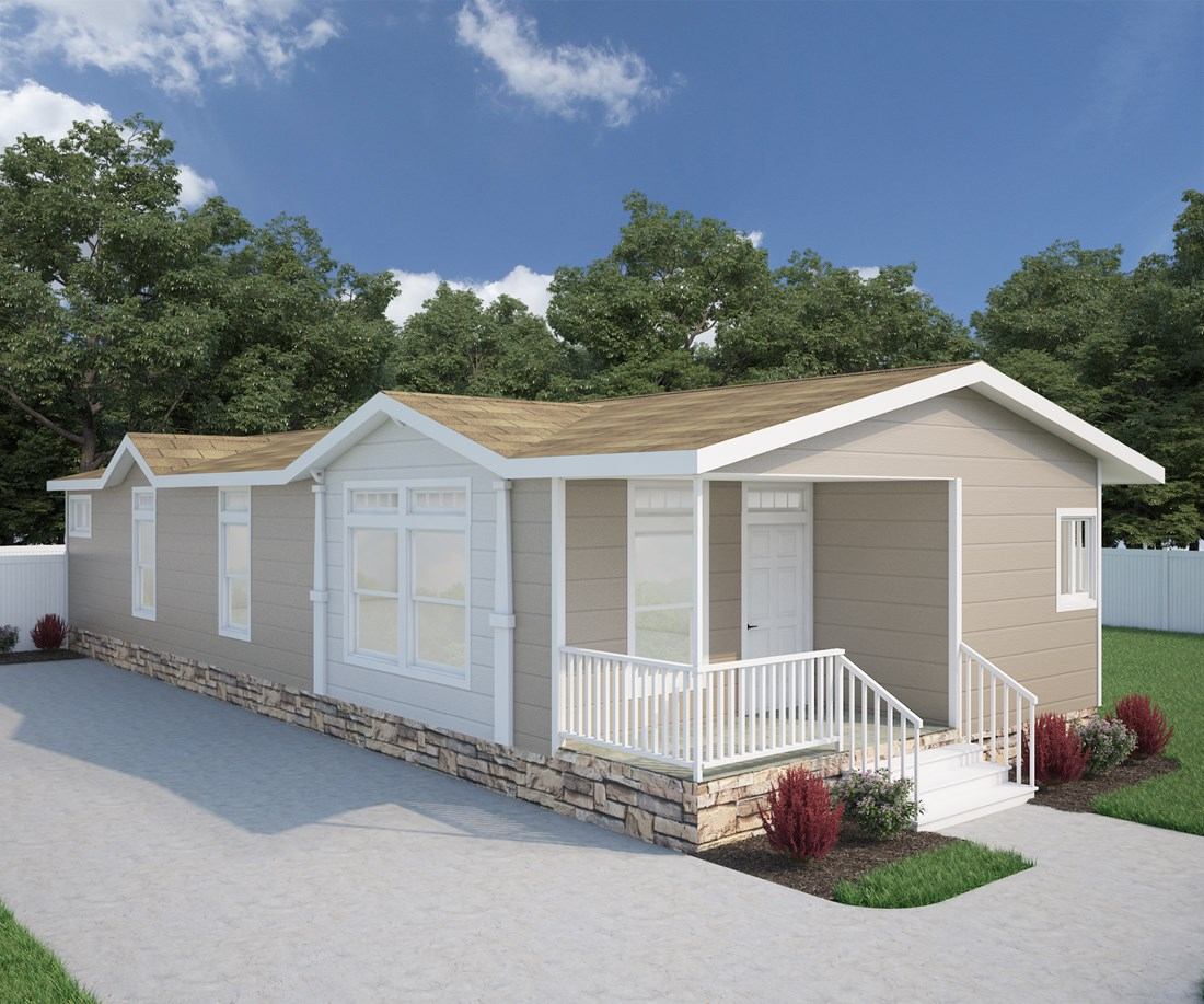 The GLE561A Exterior. This Manufactured Mobile Home features 3 bedrooms and 2 baths.